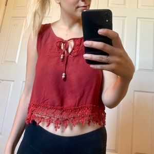 Red Crop Top with Fringe